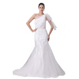 $enCountryForm.capitalKeyWord UK - New Style Luxury Bridal Dress Mermaid Style One Shoulder White Tulle Wedding Gown With Lace Appliques 100% High Quality