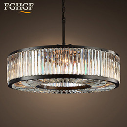 Discount hanging ship ceiling - Modern Vintage Crystal Chandelier Lighting Pendant Hanging Light Ceiling Mounted Chandeliers Lamp for Home Hotel Villa D