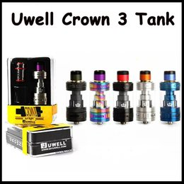 Barato Boa Qualidade Tanque Tops-Boa qualidade Uwell Crown 3 Tank 5 cores 5ml Top Refilling Flavour Tank 24.5mm Diameter Vape Atomizer by DHL grátis