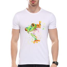 cb33258e6a94ea Men Clothing Tees Cheap Men s Animal Style Cute Watercolor Frog Print T- Shirt Men Summer Modal Hipster Tees white