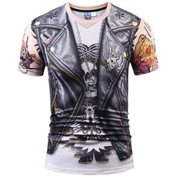 Barato Couro Tees Homens-Camisas 3D T Designer Stylish 3d T-shirt Men / Women Tops Imprimir Fake Leather Jacket T camisa 3d Summer Tees Shirts