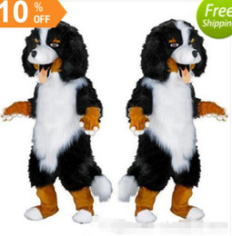 Viste Ovejas Blancas Baratos-Diseño rápido Custom White Black Sheep Dog Mascot Costume Cartoon Character Fancy Dress para party supply Adult Size