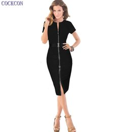 Femme Sexy Décontractée Pas Cher-COCKCON Sexy Summer Women Casual Work Business Robe Slim Elegant Bodycon crayon manches courtes à genou longueur robe 031