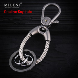 keychain packaging Canada - Fashion men metal keychain car key holder llaveros Trinket keyring chaveiro porte clef Christmas Present Retail Package K0188