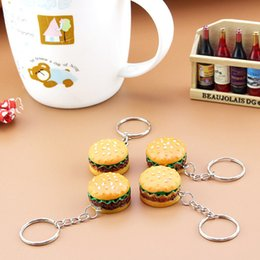 Artificial Chains Wholesalers Australia - Cute Hamburger Keychains Artificial Simulation Food Pendant Key Ring Key Chains Fashion Accessories Christmas Birthday Gift Promotion Item