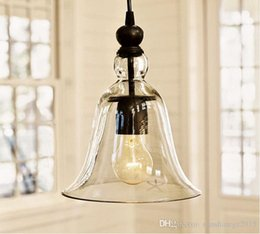 vintage bedroom lamp shades Canada - Antique Vintage LED Pendant Lamp European Style Glass trumpet Shade Ceiling Light Edison Pendant Lamp Fixture for Living room