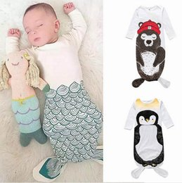 Barato Saco De Sono Longo Da Luva-Ins Baby Sleep Bag Cartoon Mermaid penguin Bear Algodão Baby Long Sleeve Nursery Bedding 0-2Y HY2099