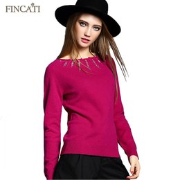 Barato Atacado Suéteres De Cashmere Senhoras-Atacado- Cashmere Sweater 100% Pure Cashmere Slash Neck Pull Femme Elastic Silm Hot Fit Rhinestone Design Mulheres Lady's Sweater Knitwear