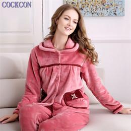 d757b953d1 Fleece Pyjama Set Canada - COCKCON New winter women flannel pajamas set  long sleeve long trousers