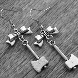 China 10pairs Silver Axe Earrings Axe Jewelry Bow Earrings Gothic Goth Horror Movie Jewelry cheap goth earrings suppliers