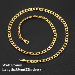 Discount mexican gold chain prices - Low Price Heavy Men's Necklace 18k Yellow Gold Filled Necklace 5mm 22inches Curb Chain Link for Men