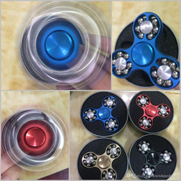 Fidget spiners online shopping - 18 Beads Hand Spiners Aluminum alloy Tri Spinners Bearing Finger Spinner Metal Kid Adult Anti Stress Fidget Spiner Toy gyroscope