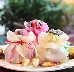 Bouquet Boxes Wholesale Canada - New Weds Wedding Centerpieces Favors Silk Candy Box Elegant Artificial Bouquet Wedding Gifts Bags For Table Decoration