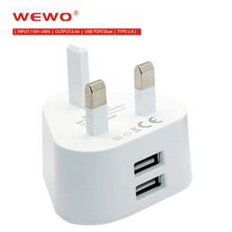 i phone dual 2019 - WEWO Dual USB Charger 2.4A Fast Charging Travel UK Plug Adapter portable phone chargers universal i Phone Charger 1PCS f