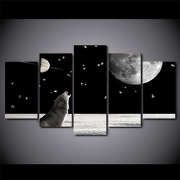 $enCountryForm.capitalKeyWord NZ - 5 Panel Howling Wolf Animal Moon Night Artworks HD Printed Poster Framed Canvas Painting Wall Pictures For Living Room