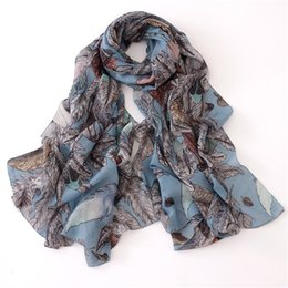 long feather scarf 2019 - Wholesale-New 2016 Fashion Feather Print Scarf Women Shawls And Scarves Female Luxury Winter Long Scarf Shawl cheap long