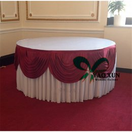 Cheap Price Round White Color Ice Silk Table Skirt With Swags For Wedding  Decoration
