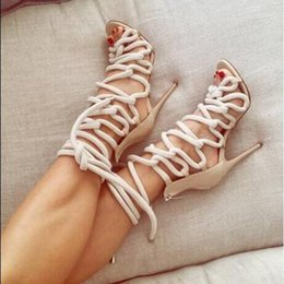 Strappy Open Heels Canada - Fashion Hot Chick Nude Pumps Woman Wedding Pumps Strappy Open Toe Sandals Booties Summer Women High Heels Shoes