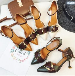 e8dc2bb971b6 Retro Spring Summer Women Pumps Fashion New Belt Buckle pointed Toe word  type strap Sandal High Heels Shoes Heeled Sexy fine with Femaleshoe