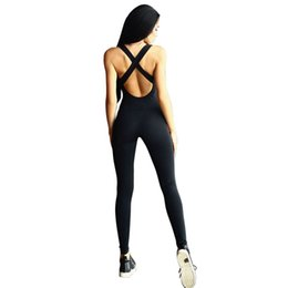Barato Desgaste Ativo Atacado Para As Mulheres-Atacado- 2017 Mulheres Jumpsuit Active Wear Fitness Stretch Pants rompers mulheres preto puro Mulheres Sleeve Bandage Play fatos Overalls