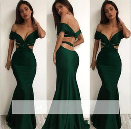 dark jade 2020 - New Sexy Deep V Off the Shoulder Mermaid Prom Dresses 2017 Jade Green Backless Satin Long Formal Evening Gowns ba4446 di