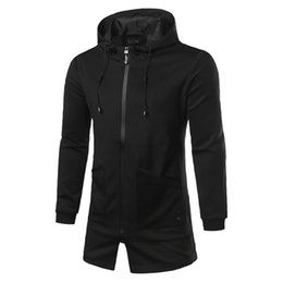 Tendance Manteau Pas Cher-Vente en gros - Trend Trend Hooded Trend Coat Hommes 2016 Hommes Mode Coréenne Imprimé Slim Fit Zipper Windproof Vestes Black Windbreaker 3XL