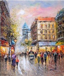 $enCountryForm.capitalKeyWord Canada - Framed French Paris Street Landscape,Pure Handpainted Impressionist Art Oil Painting Canvas Wall Decor Multi Sizes Free Shipping Ab046