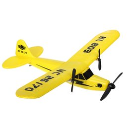 Discount electric remote control airplanes - Wholesale-New Aircraft HuaLe HL803 2.4G Upgraded PIPER J3 CUB NC26170 RC Remote Control Airplane RTF
