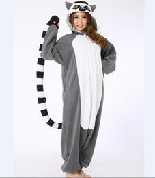 Barato Animal Onesie Adultos-Atacado- Novidade Animal Lemur Long Tail Monkey Adulto Onesie Unisex Mulheres Pijamas de animais masculinos Halloween Christmas Party Costumes