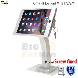 Mount Holder For Ipad Mini NZ - Fit for iPad mini 1234 wall mount aluminum metal case bracket Security display kiosk POS with lock holder for ipad tablet stand