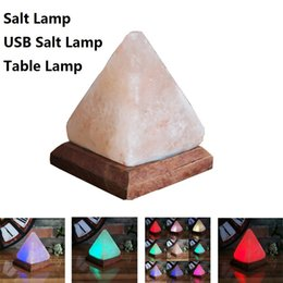 salt lamp wholesale Australia - Salt lamp table desk Lamp pyramid night light pyramid Crystal Rock himalayan salt Lamp Bedroom Adornment Home Room Decor Crafts
