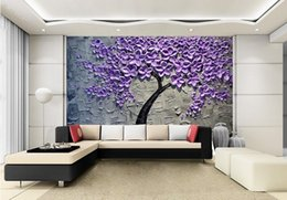 PurPle wallPaPer for bedroom walls online shopping - Customization backgrounds D wallpaper for walls d wallpaper murals moisture proof for living room Hand painted oil painting Purple Pachira