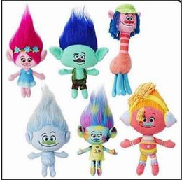 Ventes De Poupées Pas Cher-Hot Sale 6 Style 23cm Films Cartoon Plush Poppy Branch Trolls Peluche en peluche pour bébé Best Gifts JC120