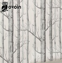 Forest Wall Mural Birch Tree Pattern Woods Wallpaper Roll Modern Simple  Wallpaper Design Black White Wall Paper For Living Room Part 77