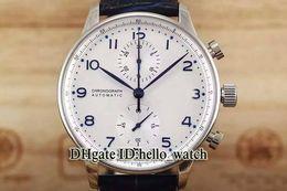 Опт Специальное предложение высокого качества Portugieser IW371446 белый циферблат синего шкалы кварцевый хронограф мужские часы кожаный ремешок дешевые часы