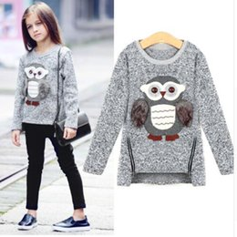 Barato Camisolas Corujas De Inverno-Childern Girls Fleece Lined Zipper Pullover Sweater Cartoon Cute Owl Casual Algodão Meninas Inverno Roupa Meninas Sweaters Jumper por 6-12 anos