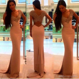 Barato Vestidos De Baile De Lantejoula Sexy E Lantejoulas-Hot Sale Sexy V Neck Mermaid Prom Dresses 2017 Vestidos de noite Satin Long Shining Sequins Beaded Formal Party Vestidos para Mulheres Comprimento do chão