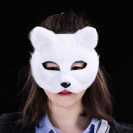 sexy cat masks Canada - Sexy Women Girls Animal Short Fur Fox Mask Half Face Masks Halloween Carnival Party Dress Decoration