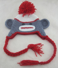 Monos Sombreros Baratos-Cartoon Big Mouth Monkey Cotton Boy Girls Knit Newborn Hat Bahía Niños adultos Crochet Hats Sombreros de otoño invierno Marca de moda