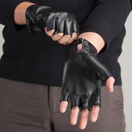 $enCountryForm.capitalKeyWord Canada - Wholesale- Brand Men and Women Genuine Leather Gloves Sheepskin Leather Fingerless Gloves Black Red Dance Driving Glove KU-008