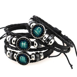 white braided rope bracelets Canada - Fashion Twelve Horoscope braided Rope Leather bracelet Vintage Black Beaded 12 Zodiac Charm Bracelets For women&men DIY Punk Jewelry