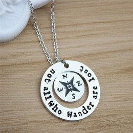 $enCountryForm.capitalKeyWord Canada - New Men Necklaces Compass Letters Pendant Necklaces Silver Plated Fashion Europe Long Necklaces For Boyfriend Gift