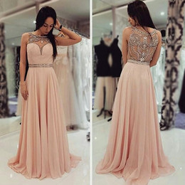 chocolate peaches Australia - Peach Champagne Beaded Chiffon Prom Formal Dresses 2019 Sparkly Crystal Back Crew Elegant Full length Custom Make Women's Occasion Prom Gown