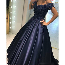 $enCountryForm.capitalKeyWord NZ - Ball Gown Navy Blue Arabic Wedding Dresses off the Shoulder Beaded Lace Appliques Princess Colorful Bridal Gowns Non White Custom