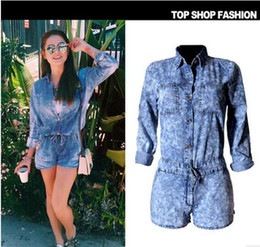 Combinaisons En Coton Pas Cher-Summer Fashion new Denim Jumpsuits Rompers pour femme Blue Long Sleeve Short Jumpsuits Ensembles de décoration de poche Overalls