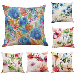 $enCountryForm.capitalKeyWord UK - Novelty Watercolor Floral Linen Cushion Cover Home Office Sofa Square Pillow Case Decorative Cushion Covers Pillowcases Without Insert