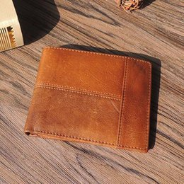 mens wallet coin purses 2019 - Wholesale- DALFR Genuine Leather Mens Wallets Card Holder Male Short Wallet 6 Inch Cowhide Vintage Style Coin Purse Smal