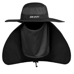 China Large Wide Brim Mens Fishing Bucket Hat Summer Breathable Outdoor Sun UV Cap Face Neck Protection Anti Mosquito Hat For Fisherman Army Green cheap large brim summer hats suppliers