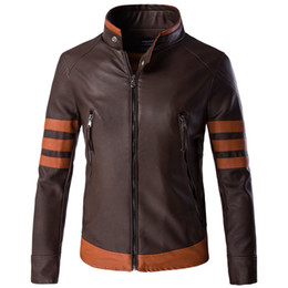 Wholesale military motorcycle jackets resale online – Autumn Military Mens Motorcycle PU Leather Jackets High Quality Stitching Color Stand Collar Outerwear Cool Brand for Fashion Brown