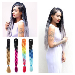 Ombre Xpression Braiding Hair Kanekalon Lot Gray Braiding Hair Extension 24''100g Blue Synthetic Braiding Hair Three Tone Ombre